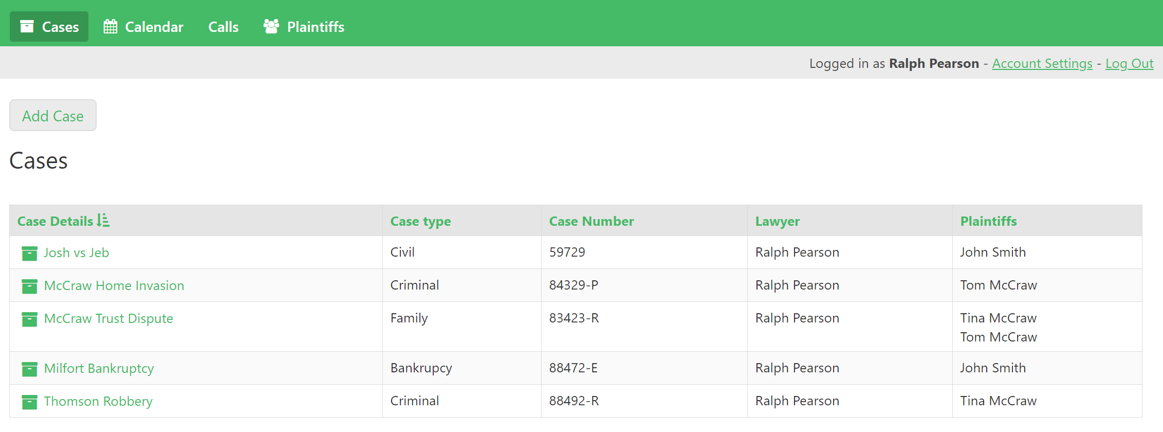 Lawyers log into the app where they immediately see their cases. They can then navigate to other parts of the portal.