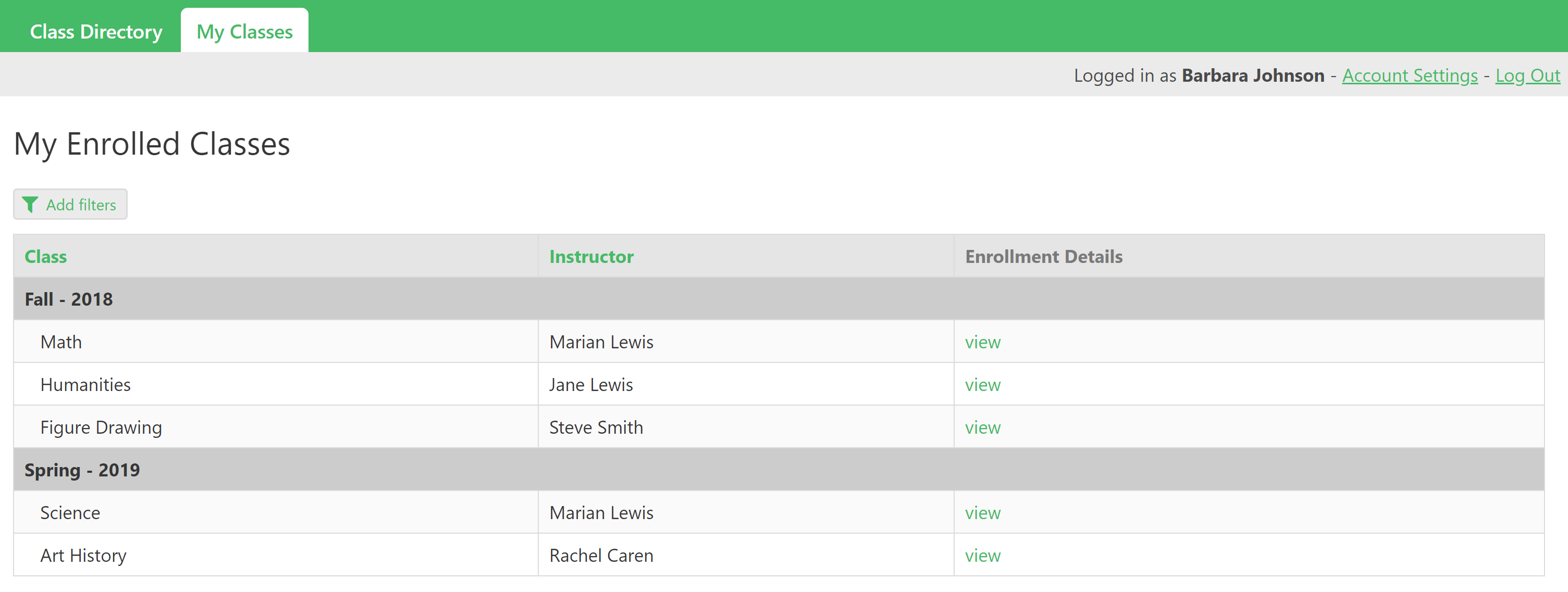 online database and workflow templates class catalog and enrollments