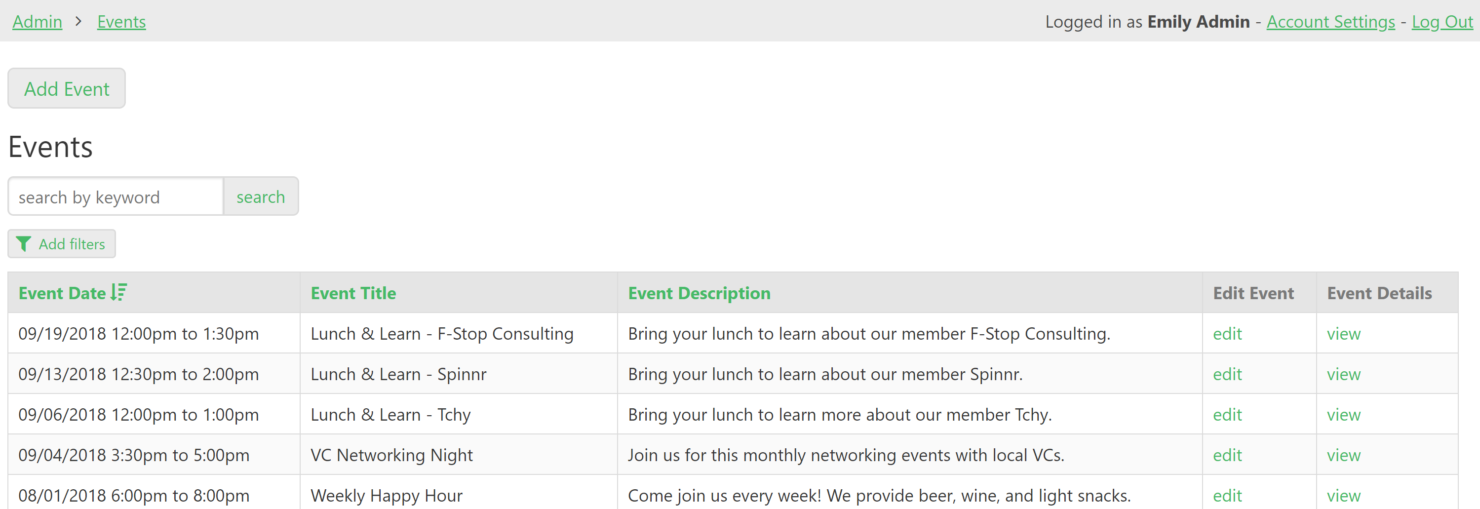 Admins can manage events for the space, including one-time and recurring events.