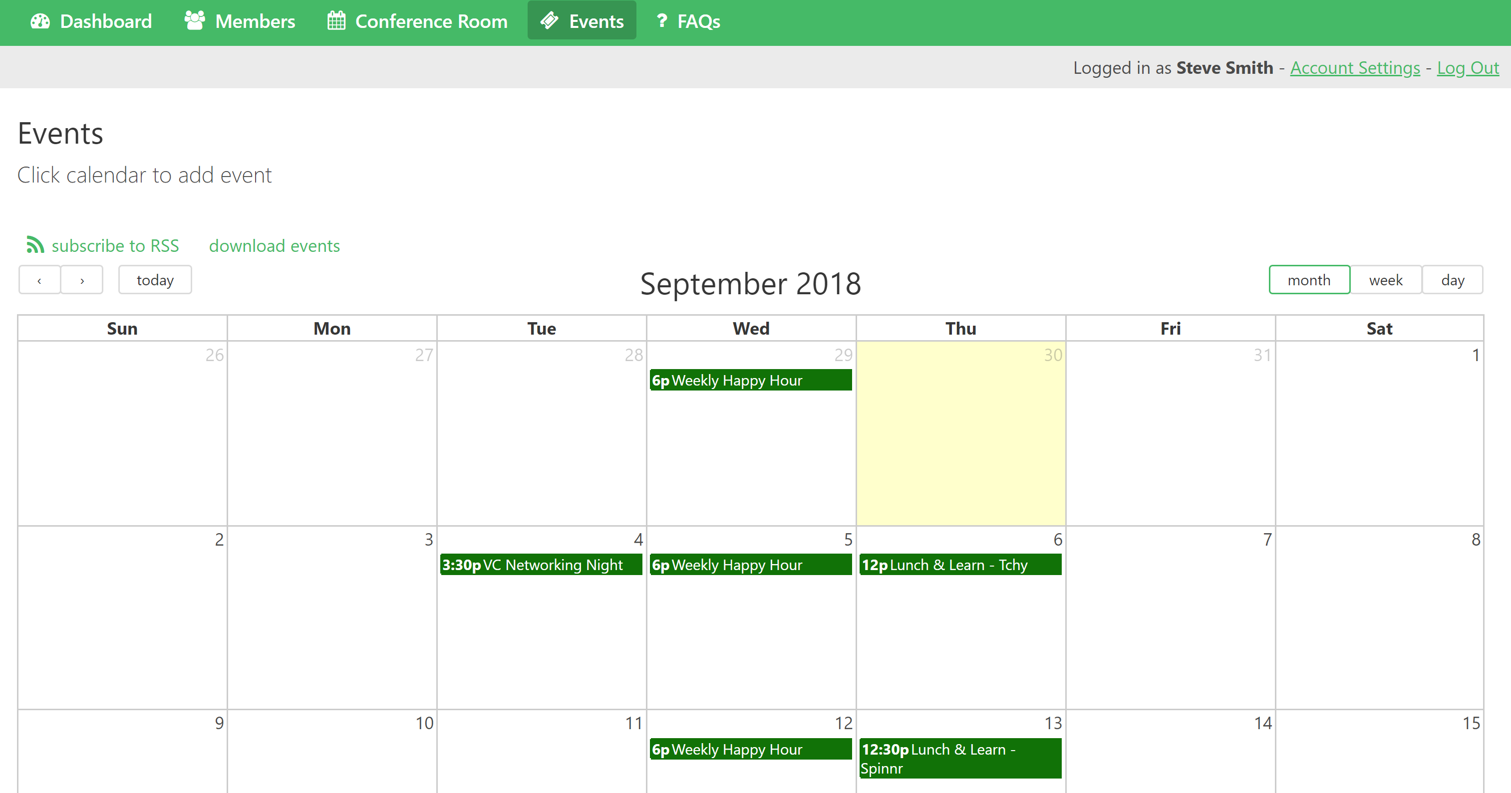 A calendar view makes it easy for members to see upcoming events. They can click on the calendar to add their own event.