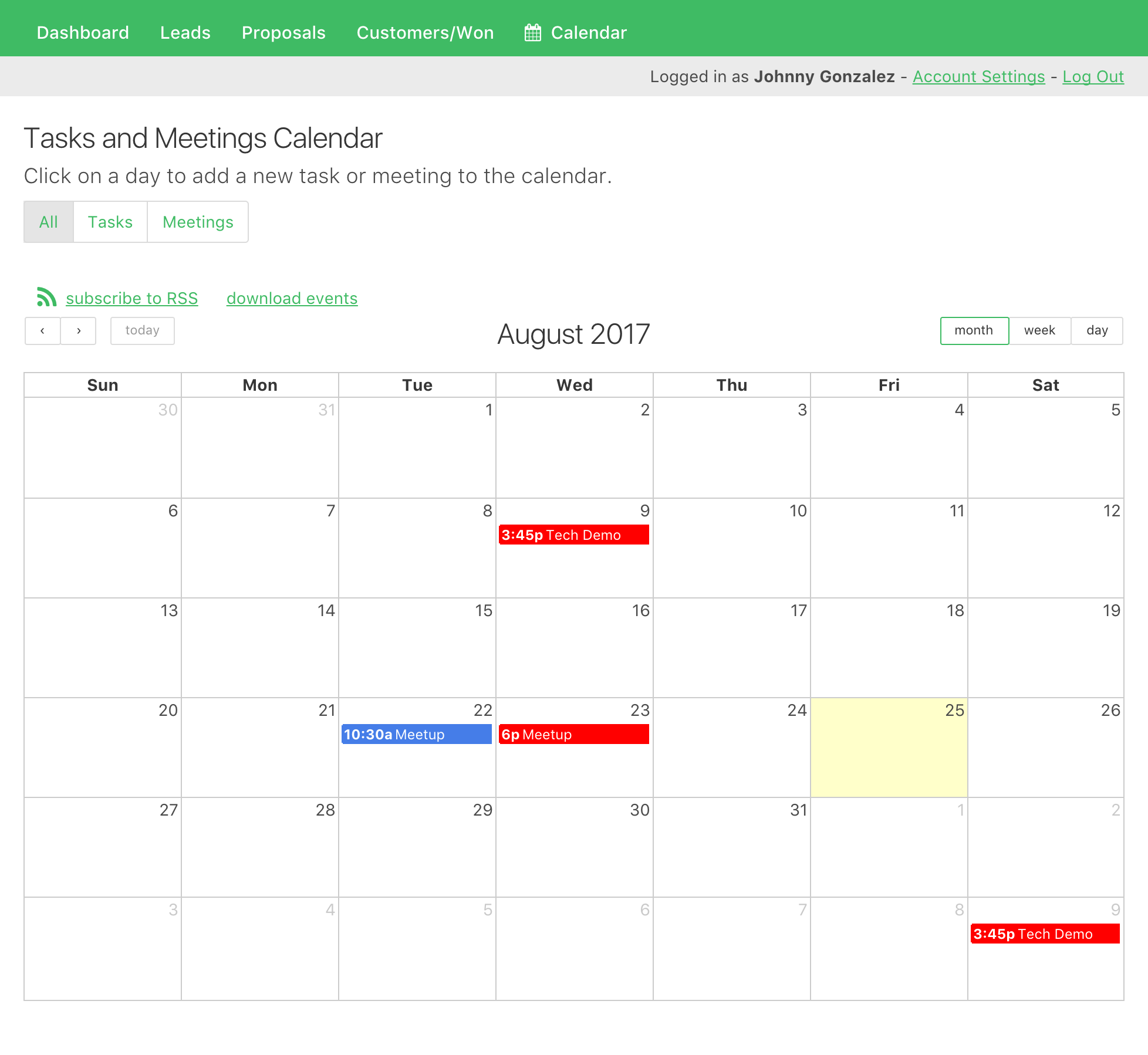 Each CRM lead has tasks and meetings that are assigned to each sales rep and tracked in a calendar.