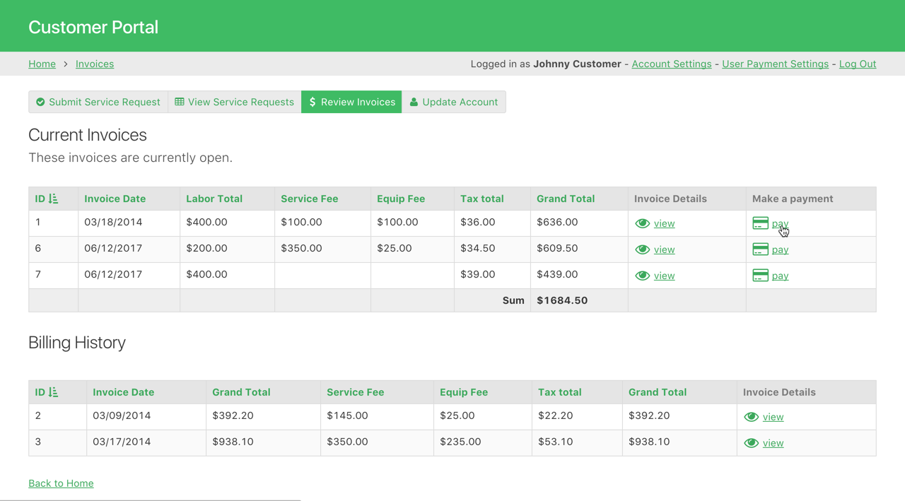Customers log in to their own dashboard where they view open invoices and have easy access to make a payment.