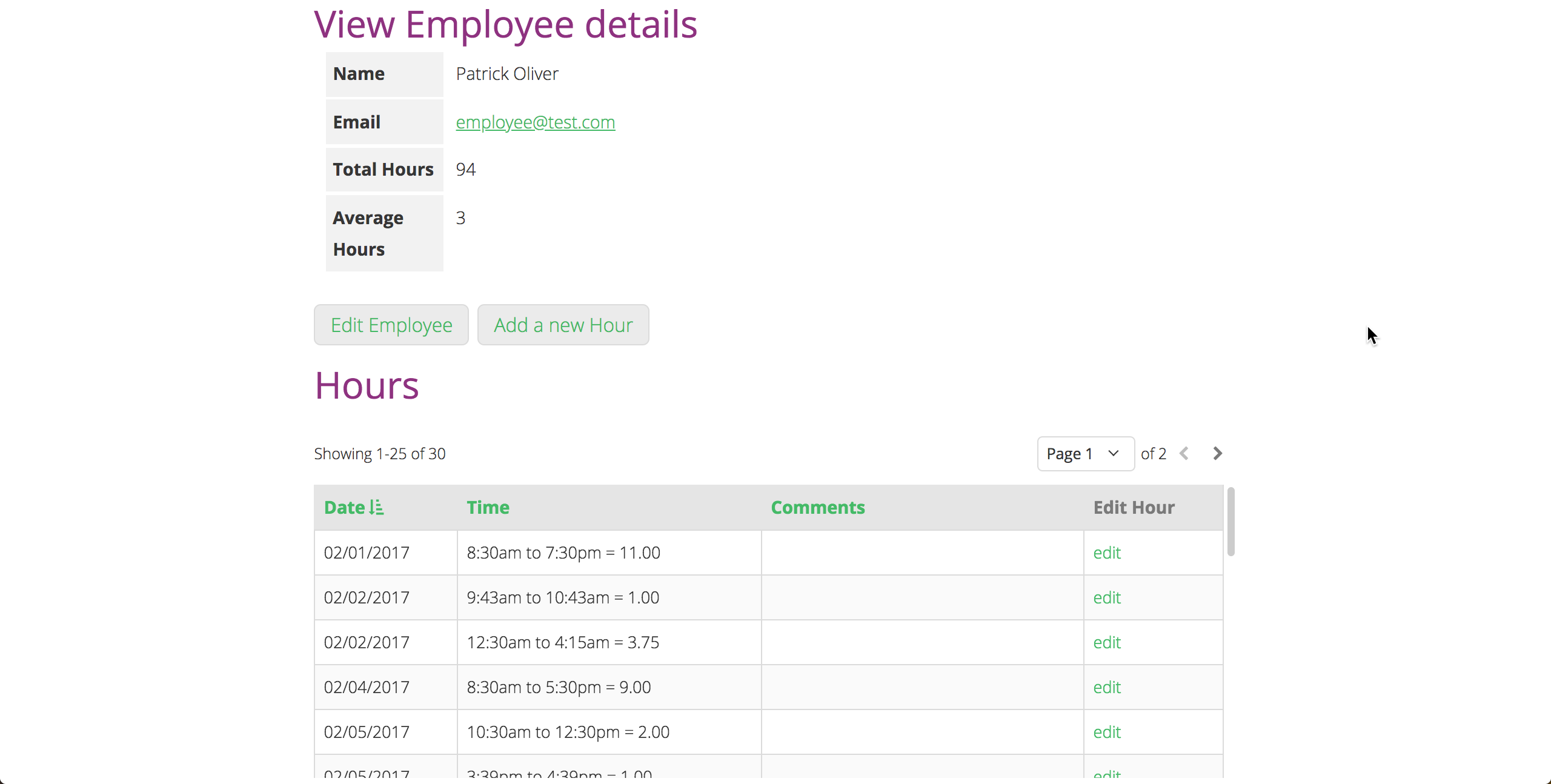 Supervisors can manage employees and view all their hours.