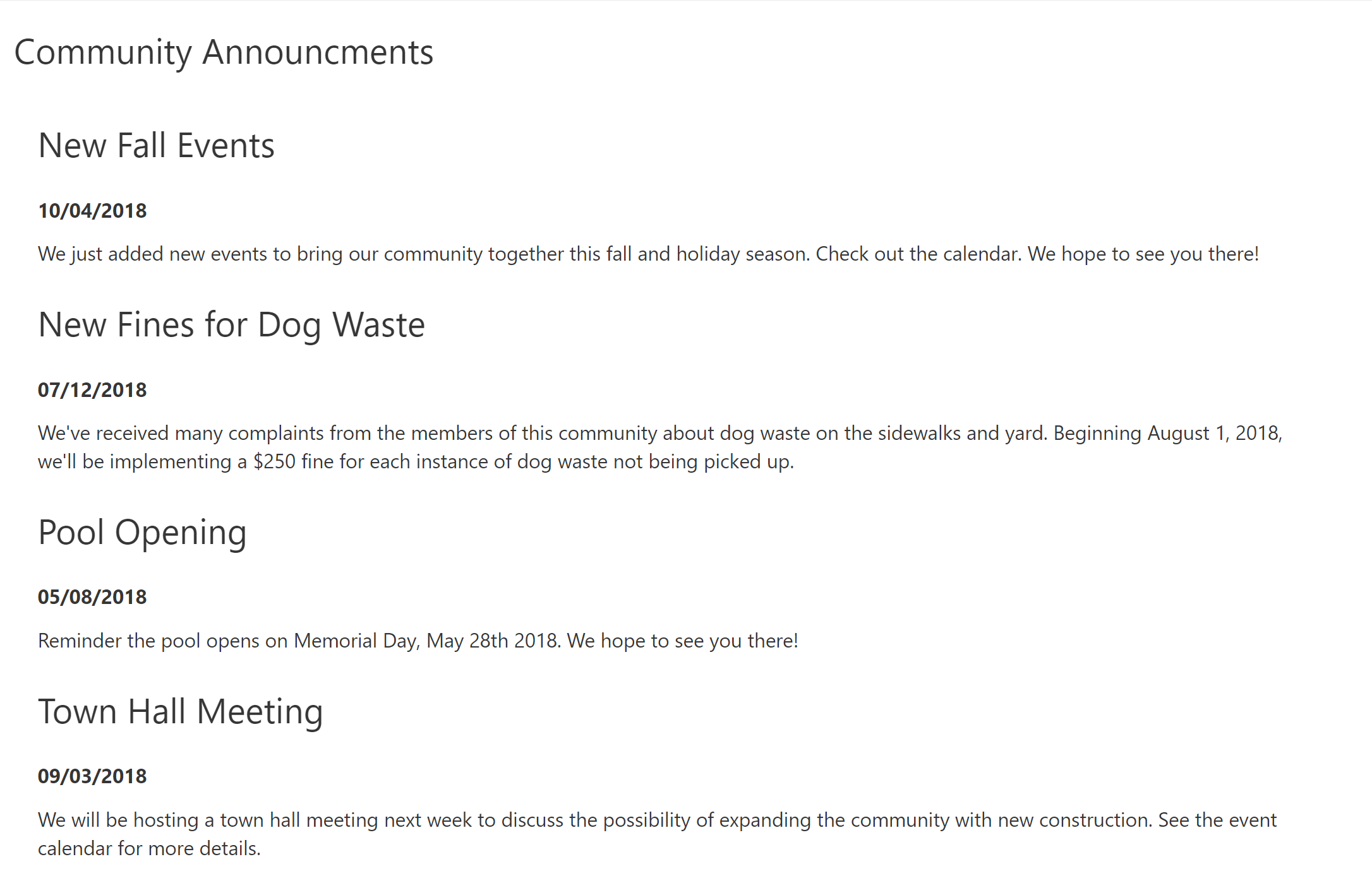 A Community Announcement Page Makes It Easy To Keep Up With Whats Happening Your Neighbors