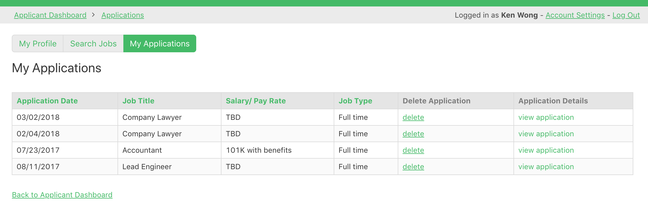 Online database and workflow templates: Job Board Portal