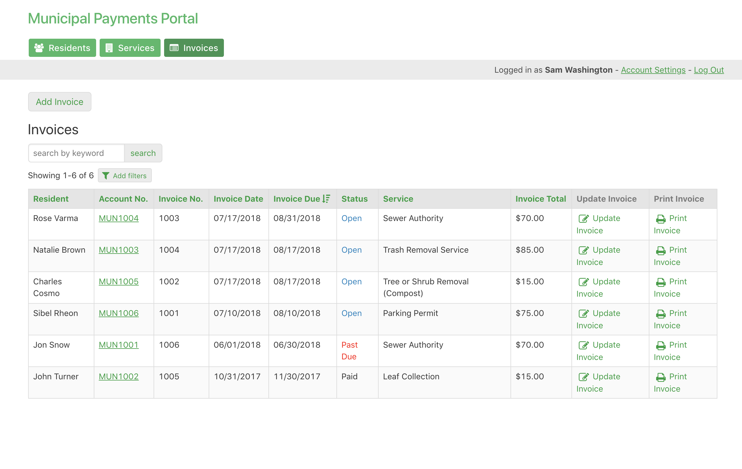 Admin Invoices Dashboard