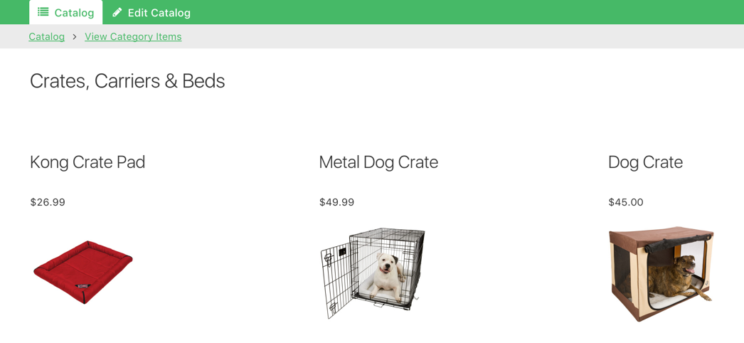Categories contain the associated items to help keep the catalog organized.