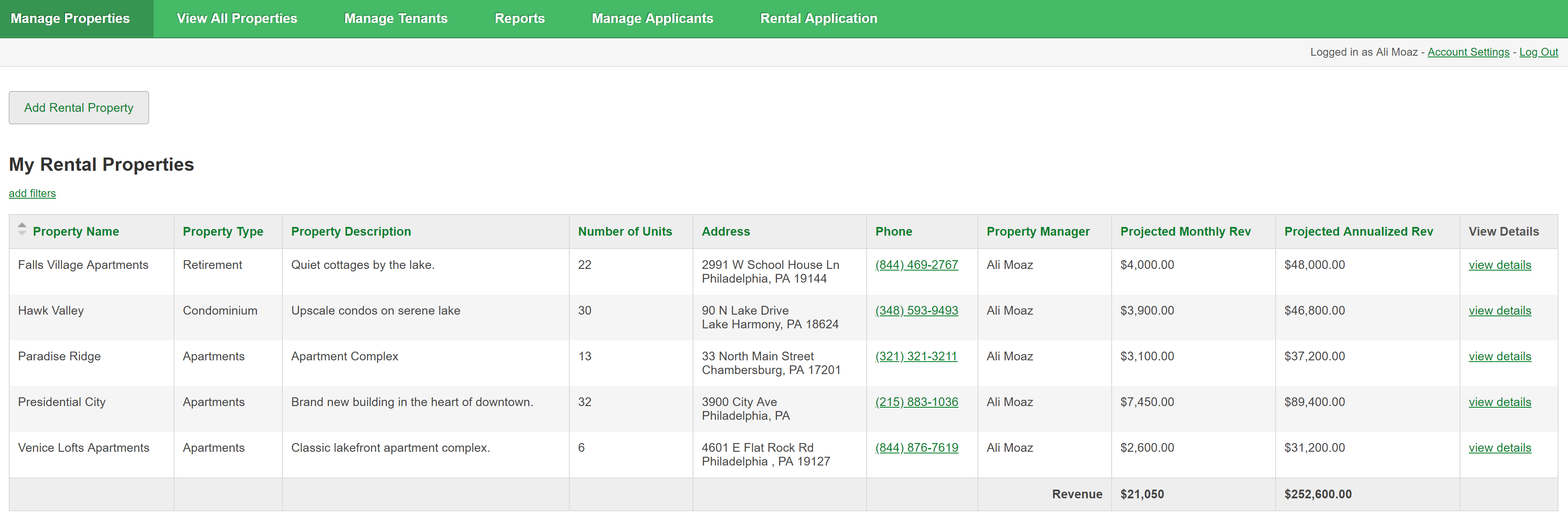 Online database and workflow templates: Property Management
